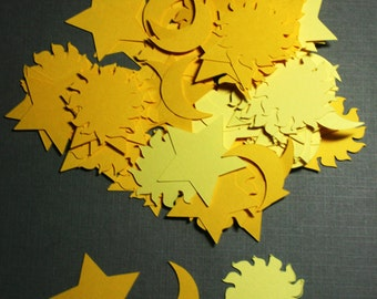 100  yellow moon, sun and stars confetti