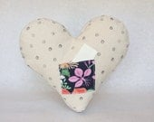 little heart note pillow, hand stamped, polka dot canvas, floral pocket
