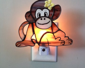 Stained Glass Monkey Night Light or Sun Catcher