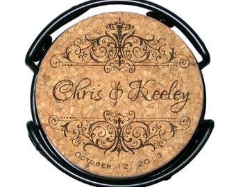 Wedding Cork Coaster Set, Personalized Vintage Style