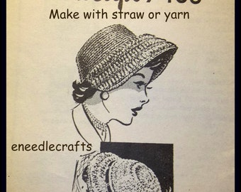 Vintage Crocheted Hat Patterns - Make With Straw Or Yarn - On PDF