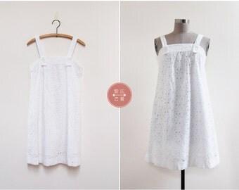 Dayspring Cotton Dress | xs | 1960s vintage | white flower eyelet sundress