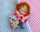 Brooch - Happy Quilter - fabric doll with patchwork quilt