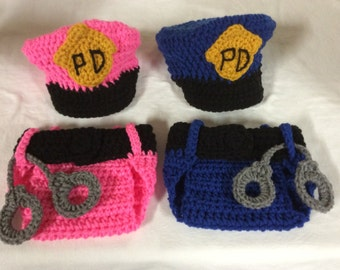 Baby Crochet Cap, Diaper Cover- Police Officer.