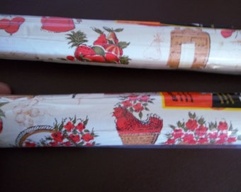 Vintage Shelf Liner Contact Paper Orange Brown Flowers