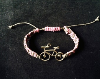 Bicycle Macrame Hemp Bracelet, Adjustable