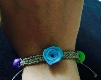 Macrame Hemp Bracelet, Natural Hemp, Light Blue Rose
