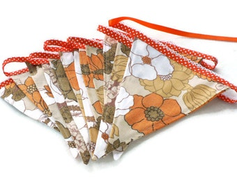 vintage orange bunting fabric banner celebrations or decoration