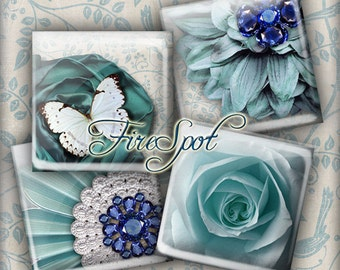 Blue-Green Flower Butterfly Bird gem -Digital Collage Sheet 1.5inch,1 inch,25 mm,20 mm Square Glass Pendants, Bottlecaps,Scrapbooking