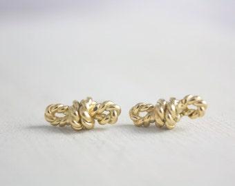 Sterling Silver Knot  Earrings, Silver Rope Earrings, Tied Earrings, Knot Earrings, Gold Earrings, summer, Earrings, Women, Gift for her