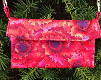 Reds and Purples Floral Cross-body Bag or Wallet