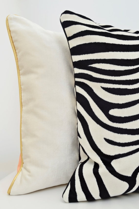 Animal Print Pillow CoverZebra Pillow Black velvet