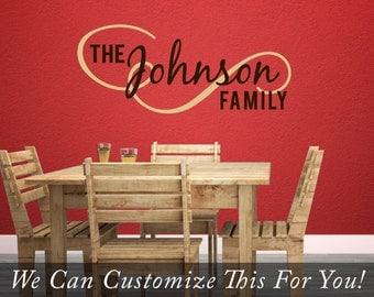 Custom family name The Johnson Family flourish wall decor vinyl lettering words 2183