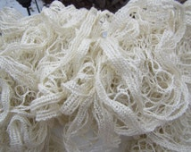 Cream with Hints of Glitter Ruffled Scarf - Sundance Frill Metallic Solids Yarn Ivory