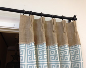 Burlap Drape/panel/pinch pleat curtains/window curtains/window treatment/rustic curtain/country curtains