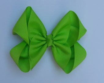 Neon Green Large Boutique Bow Girls Big Hair Bow Girls Bow Jumbo Bow Neon Green Hair Bow