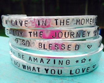 Motivational Cuff Bracelets - Inspirational Cuffs - Bangle Bracelets - Hand Stamped Bracelets - So Blessed - Enjoy The Journey - Be Amazing