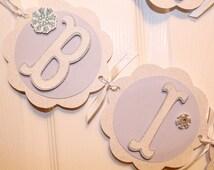 Winter Wonderland Birthday - Girls Onederland Birthday - Girls First Birthday - Lavender Silver White Decorations - Snowflake Banner