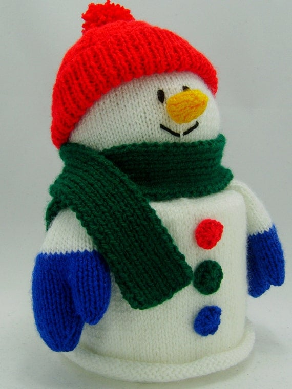 Knitting Pattern For Toilet Paper Holder : KNITTING PATTERN Snowman Toilet Roll Cover Knitting Pattern
