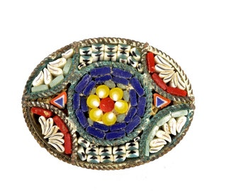 Vintage Italian Millefiore Micro  Mosaic Glass Brooch