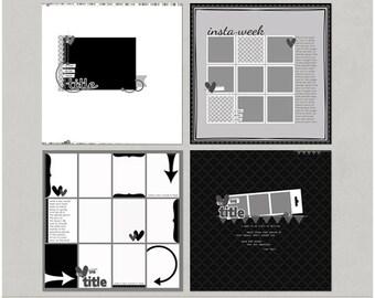 Sample Pack 32 - 12x12 Digital Scrapbooking Templates