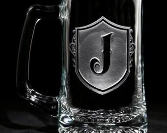 Custom Engraved Monogram Beer Mug, Gifts for Men Set of 2 (M22)