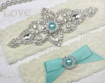 Best Seller - CHLOE II - Aqua Blue Wedding Garter Set, Wedding Lace Garter, Rhinestone Bridal Garters, Something Blue