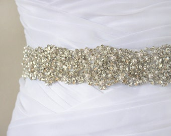 JANELLE - Swarovski Pearls And Rhinestones Encrusted Bridal Sash, Wedding Beaded Belt, Crystal Belt
