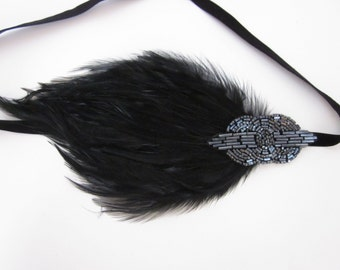 Gray 1920s headband, great gatsby headpiece, black feather headband, Royal blue feather fascinator, flapper dress, pewter Art Deco headpiece