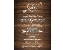 Wood Wedding Invitation DIY PRINTABLE Digital File or Print (extra) Country Wood Wedding Invite Heart and Arrow Wedding Invitation