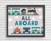 Train Nursery Decor Wall Art - All Aboard Train Print - 8x10