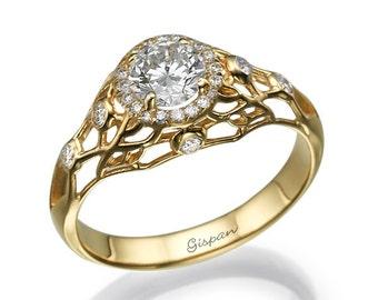 Yellow Gold Engagement Ring, 14k Ring, Engagement Rings, Wedding Ring, Diamond Ring, filigree ring, Antique Ring, Vintage Ring, Woman Ring