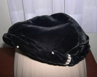 1940's Black Velvet hat with Faux Diamonds