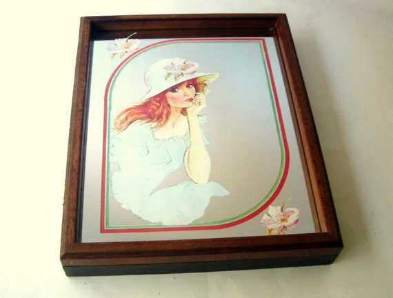 Reserved for dy vintage wood and mirror key box wall hanging for Mirror key holder