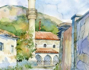 "Architecture watercolor painting - original mosque painting ""Mosque in Sokolinoe"" paper"