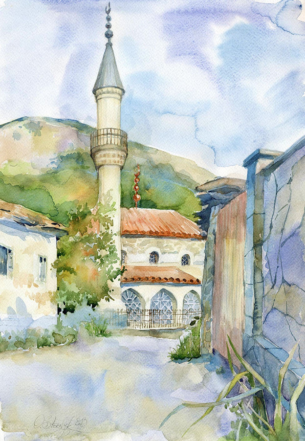 Architecture watercolor painting original mosque painting for Peinture mural original