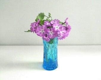 Blue Cut Glass Vase - Soviet vintage - aqua blue pressed glass vase - made in USSR