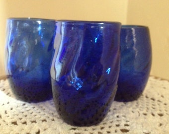 Pretty Set of (4) Cobalt Blue Shot Glasses-Blown glass-Swirl Design