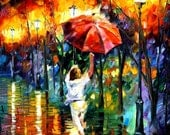 """Red Umbrella — Palette Knife Woman Figure Fine Art Artwork Oil Painting On Canvas By Leonid Afremov. Size: 30"""" X 40"""" Inches (75cm x 100cm)"""