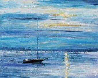 Seascape Wall Art Blue Sky Oil Painting On Canvas By Leonid Afremov - Peace