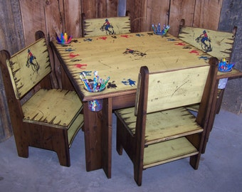 Kid's Table and 4 Chairs, Western Kid's Table and Chairs, Kid's Wood Table and Chairs, Kid's Furniture