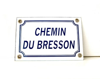 French vintage enamel street sign. White with blue letters. SMALL French street sign. Loft. Industrial.