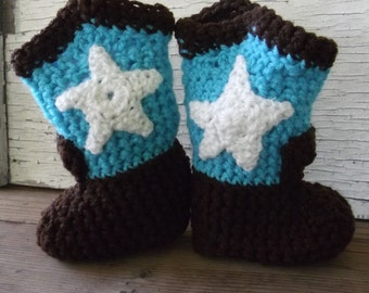 Little Buckaroo Boots in turquoise and brown/baby shower gift/photo shoot/country baby