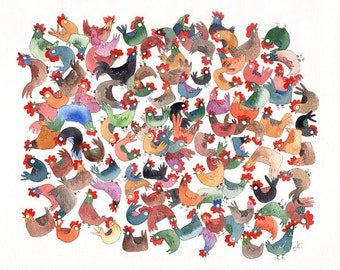 A beautiful print of my original watercolor: Roosters , a colorful and a little bit crazy roosters to decorate the baby's room