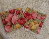 Tulips Galore Quilted Hot Pads. Match our Placemats and Napkins