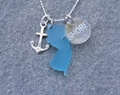 New Jersey SHORE Blue Silver Anchor Charm Necklace