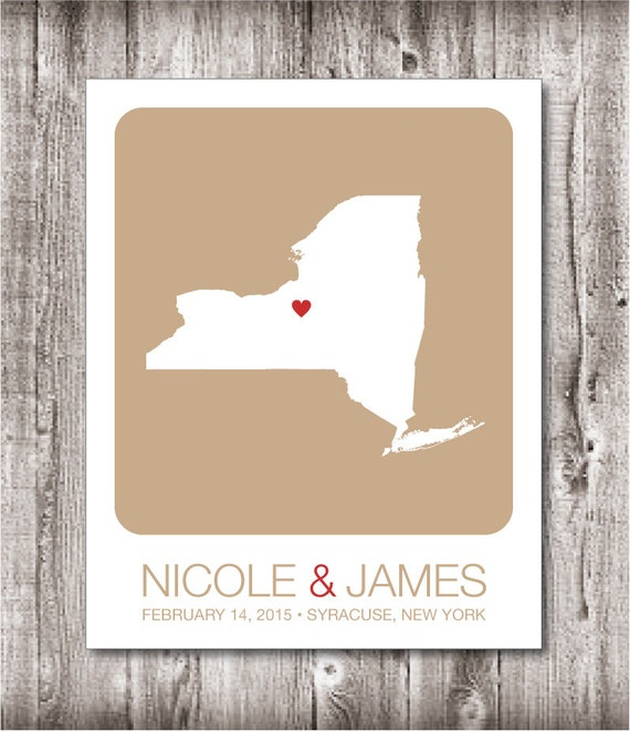 Personalized Wedding Gift : New York State Map Print - Wedding Guest ...