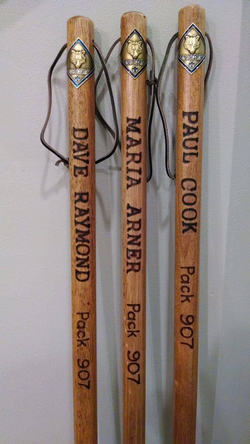 Wooden Walking Sticks ~ Personalized cub scout wooden hiking walking stick b s a wood
