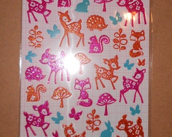 Kawaii Glitter Woodland Animal Stickers