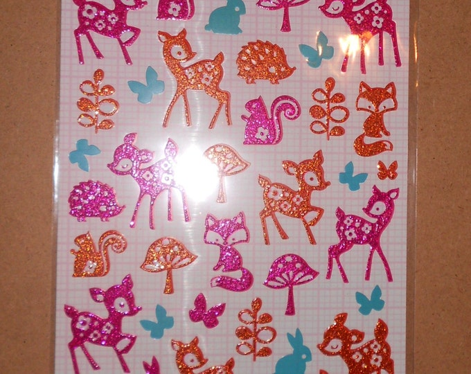 Kawaii Glitter Woodland Animal Stickers